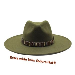 NEW Dark Green Bead Band Wide Brim Fedora Hat